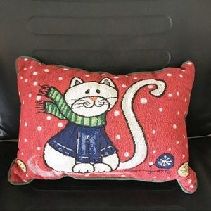 Other - Winter Holiday Christmas Cat Textured Throw Pillow